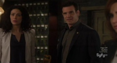 Warehouse 13 S4x10 - Myka Pete and Claudia are stunned at what Artie has become